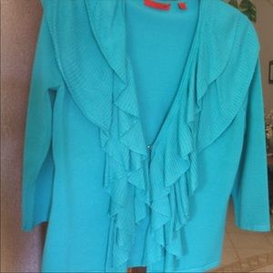 Gorgeous turquoise ruffle sweater S